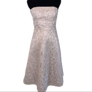 WHBM cream lace strapless evening dress